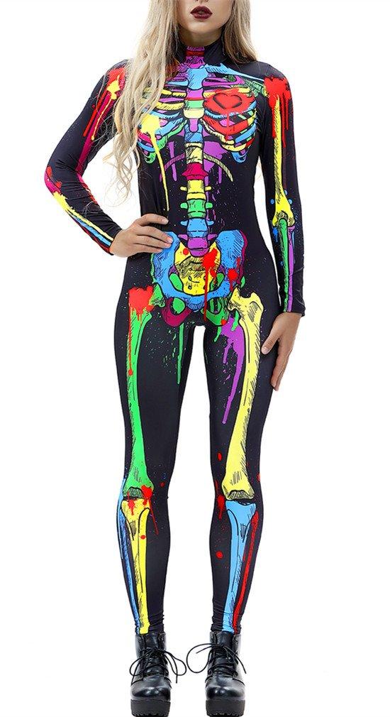 Gludear Women Halloween Costumes Cosplay Skull Print Long Sleeve Jumpsuit Skeleton Catsuit,Colorful Skull,S