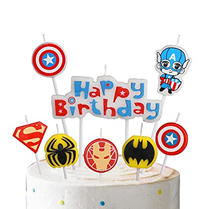 Pinkblume America Caption Hero Birthday Candles For Boys Happy Birthday Decorative Cake Candle Set Captain America Shield Spider Man Iron Man Superman