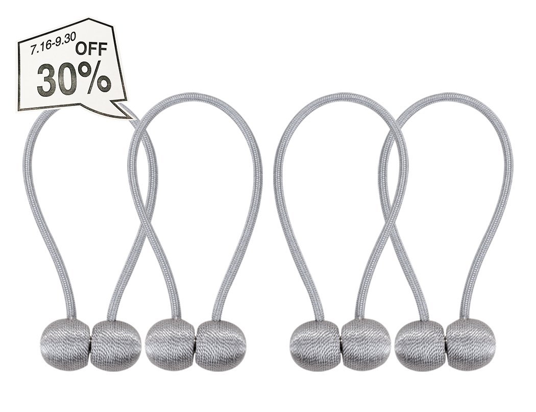 Home Queen Window Curtain Tiebacks Clips VS Strong Magnetic Tie Band Home Office Decorative Drapes Weave Holdbacks Holders, Classic European Style, Set of 4, Grey