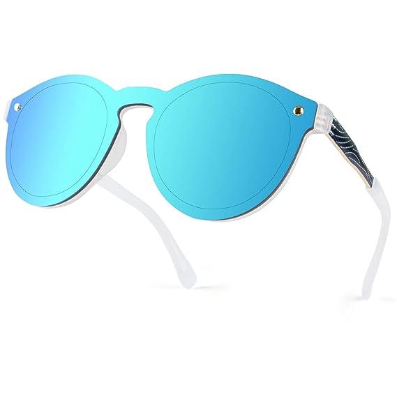 GQUEEN Futurista Sin Marco Redondas Gafas de Sol Protector Reflexivo Espejo Anteojos para Hombre Mujer MEO5