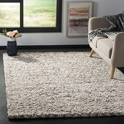 Image of Safavieh Hudson Shag Collection SGH330A Ivory and Grey Area Rug (9' x 12')