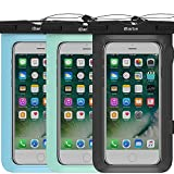 3 Pack Waterproof Case - iBarbe Universal Cell Phone Plasic TPU Dry Bag for iPhone 7 7 plus 6S 6 6S Plus 5 S SE 5C samsung galaxy Note 5 s8 s8 plus S 8 S7 S6 Edge s5 etc.to 5.7 inch - Blac+Teal+Blue