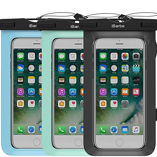 roof Case, Universal Cell Phone Plasic TPU Dry Bag for iPhone 7 7 Plus 6S 6/6S Plus 5/S/SE 5C Samsung Galaxy Note 5 s8 s8 Plus S 8 S7 S6 Edge s5 etc.to 5.7 inch,Blac+Teal+Blue ()