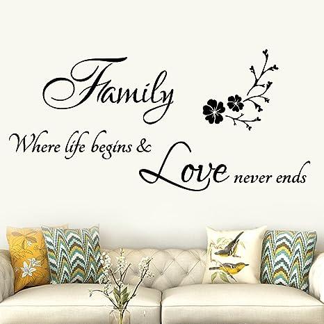 Scritte Adesive Muro.Topgrowth Family Scritte Adesive Per Pareti Adesivi Murales Diy Rimovibile Sticker Murali Decorazione