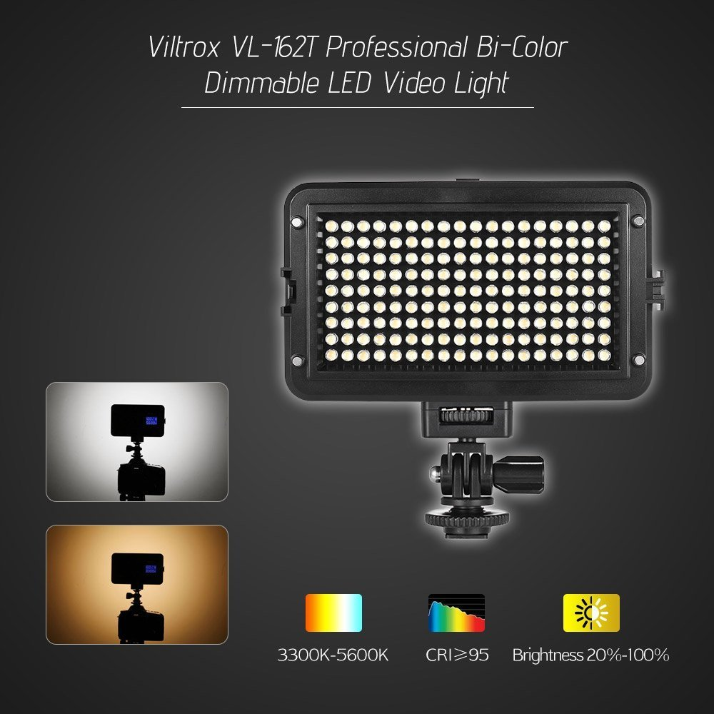 On Camera 3300K-5600K Bi-Color Temperature Dimmable Ultra Brightness LED Video Light Lamp Panel with LCD Display and hot Shoe Adapter Mount VILTROX VL-162T CRI 98