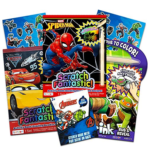 Superhero Scratch Art for Boys Kids Toddlers -- 3 Scratch Books for Kids Featuring Marvel Spiderman, Teenage Mutant Ninja Turtles and Disney Cars with 111 Avengers Stickers (Activity Books for Kids) -