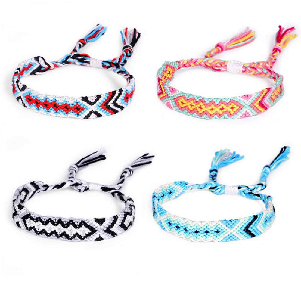 74391aeba5ccf Amazon.com: 4 pcs/Set Braided String Woven Friendship Bracelets ...