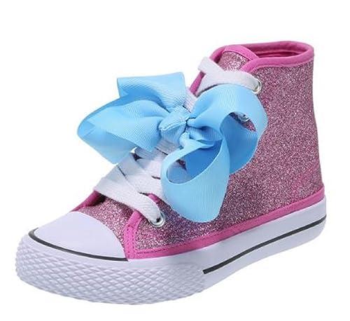 49857220274b JO JoJo Siwa Bow Sneaker High Top Silver or Pink Glitter Shoe for Girls  Shoe Sizes