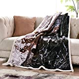 "Fassbel Sherpa Throw Blanket Digital Printing Reversible Super Soft Lightweight Blanket Warm Microfiber All Season Blanket for Bed or Couch (50""x60"", Elk)"