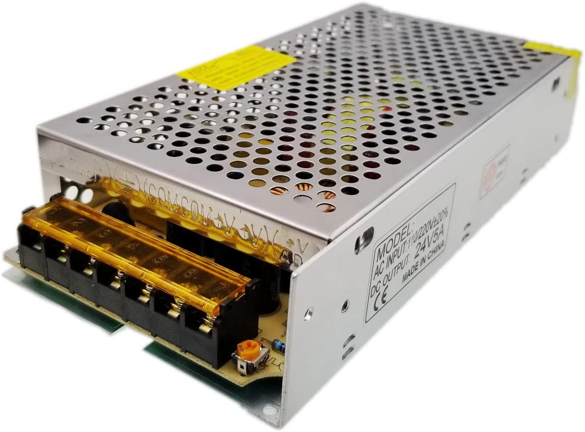 JZK DC 24V 5A 120W Transformador de Voltaje Fuente de alimentación de Interruptor para Tiras led AC 100V-240V a DC 24V, Impresora 3D