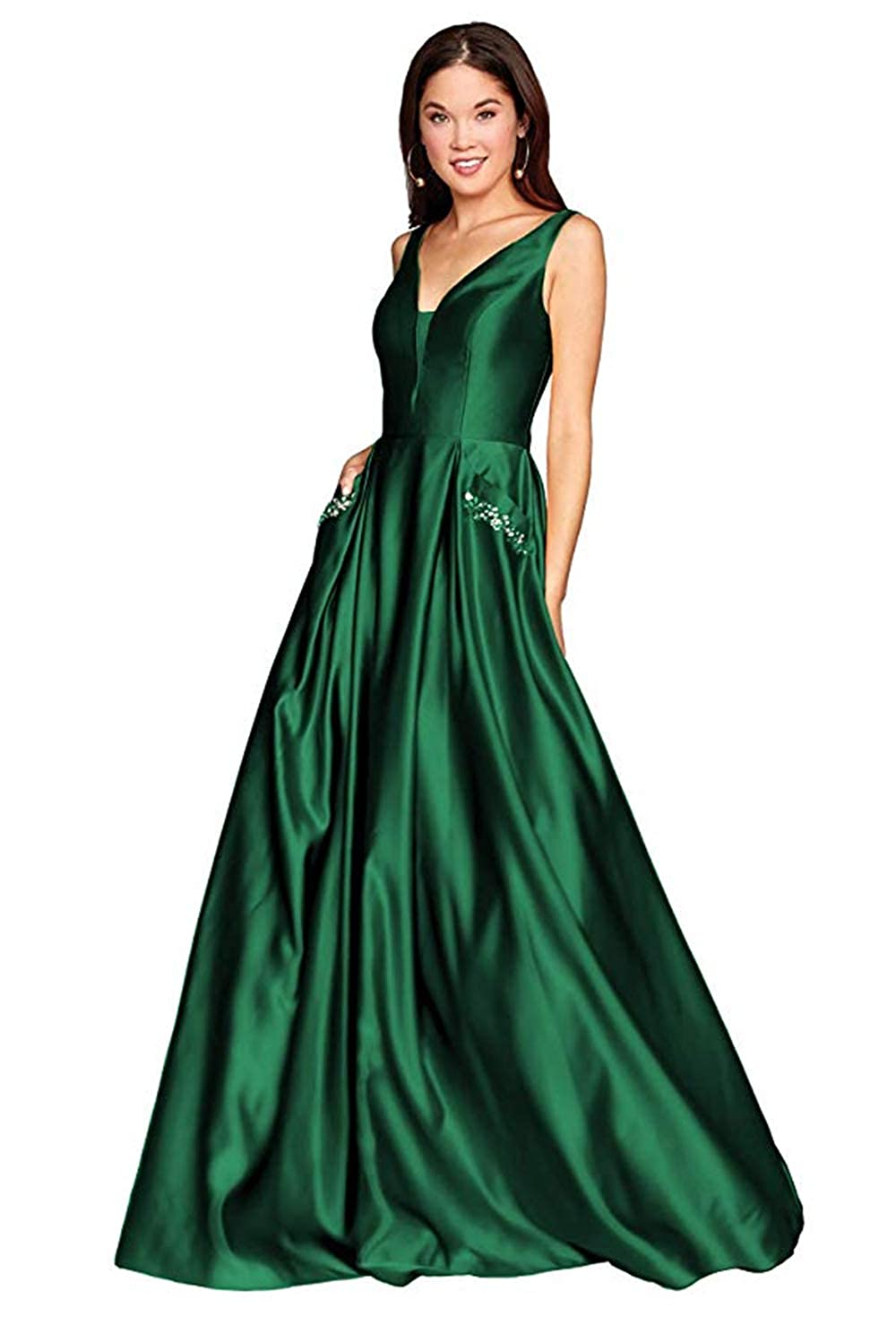01emeraldgreen PROMNOVAS Women's V Neck Backless Beaded Satin Prom Dress Long Formal Evening Gown with Pockets