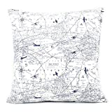 Chloe & Olive Atlas We're Here Collection Airplane and Map Reversible Pillow Cover, 18-Inch, Blue