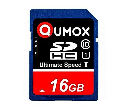 QUMOX 16GB Tarjeta SDHC de Memoria de clase 10 UHS-I, Alta Velocidad, Velocidad de escritura de hasta: 15MB/S, Velocidad de leído de hasta: 40MB/S