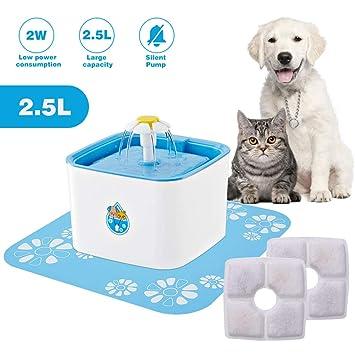 IDABAY Fuente para Mascotas Cat dispensador de Agua Silencio Bebedero Automático + 2 Filtro Carbono de Repuesto 2.5L Circular con 3 Modos Ajustable: ...