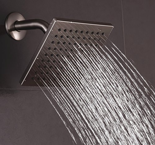 Luxury Square Rainfall Shower Head with 6-inch Face , Metal Back , Brass Swivel Joint - Brushed Nickel - Shape Head Square