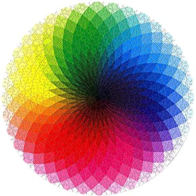 Jigsaw Puzzle -1000 Pieces of Round Rainbow Color Palette Puzzle Puzzle Suitable for Children and Adults to Relieve Stress Toys Fun Family Games.: Toys & Games