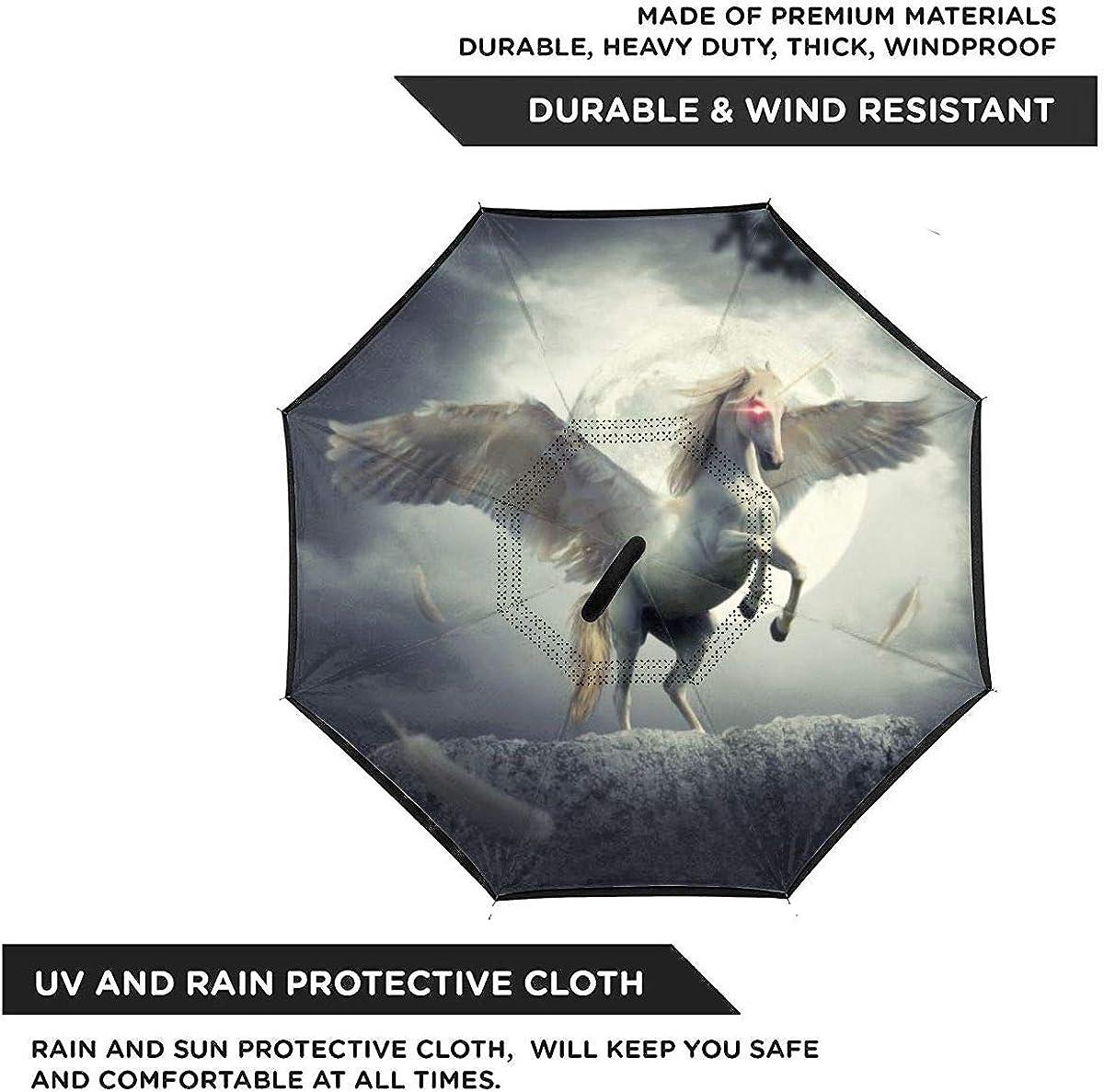 Reverse Umbrella Double Layer Inverted Umbrellas For Car Rain Outdoor With C-Shaped Handle Fantasy Unicorn Fairy Tale Night Moon Tree Horse Customized