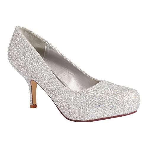 8302b87e2bc1 Ladies Womens Silver Glitter Diamante Bridesmaids Bridal Court Shoes Mid  Kitten Heel High Heels 3-8 UK4/EURO37: Amazon.co.uk: Shoes & Bags