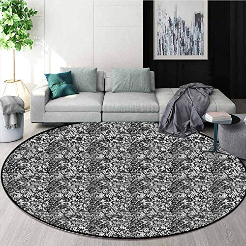 Black and White Multifunctional Round Carpet Lace Like Floral Bridal Mesh Victorian Needlecraft Digital Artwork Print for Bedroom Modern Home Decor D78.7 Inch Black White