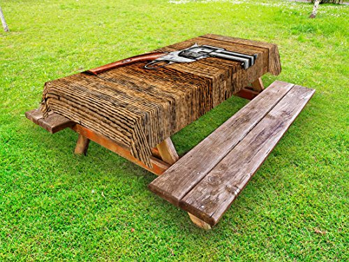 Lunarable Western Outdoor Tablecloth, Old Style Revolver Antique Six Shooter Gun Weapon Pistol on Aged Wooden Board Image, Decorative Washable Picnic Table Cloth, 58 X 84 inches, Brown Grey by Lunarable