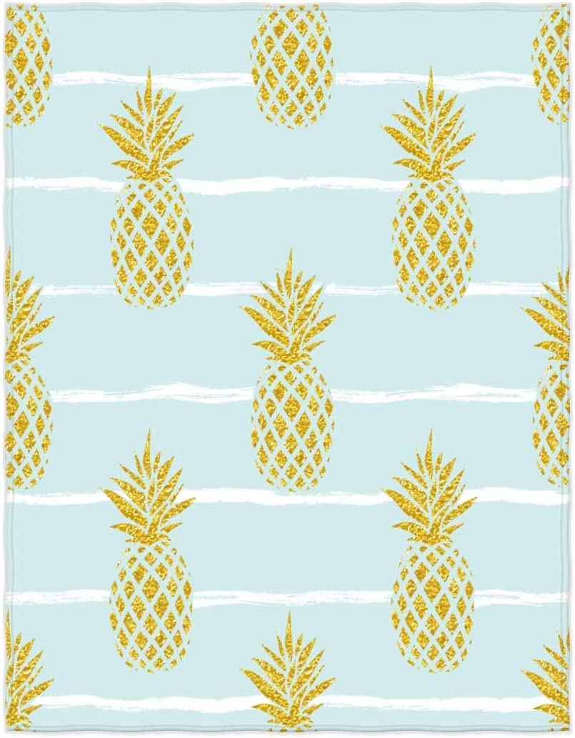QH 58 x 80 Inch Gold Pineapple Print Blue Super Soft Throw Blanket for Bed Couch Sofa Lightweight Travelling Camping Throw Size for Kids Adults All Season