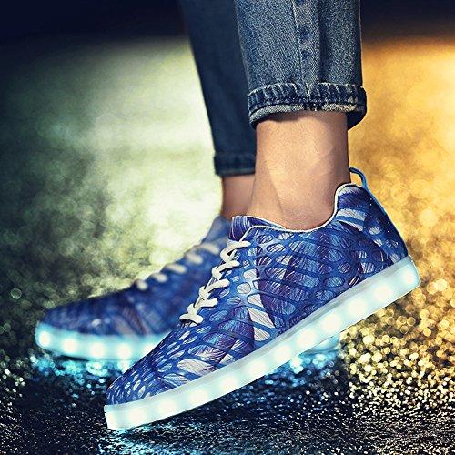 Matari Hommes Lumière De Nuit Led Chaussures 7 Couleur Rechargeable Lumineux Espadrilles Bleues