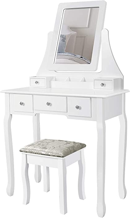 M&W Makeup Vanity Table Set with Mirror and Cushioned Stool, Dressing Table Set with 5 Drawers, Removable Organizer for Bedroom, White