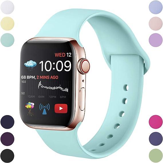 Imagen deHamily Correa Compatible con Apple Watch 38mm 42mm 40mm 44mm, Correa de Repuesto de Silicona Suave para Apple Watch Series 5/4/3/2/1, S/M, M/L