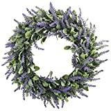 GTIDEA 16'' Artificial Lavender Wreaths Flowers Arrangements Front Door Wall Home DIY Floor Garden Office Wedding Decor