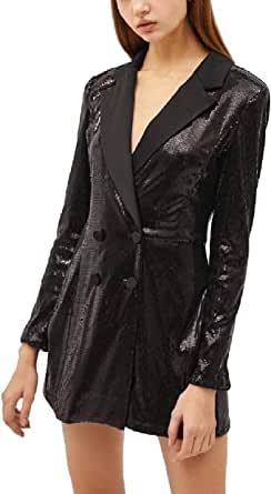 RkBaoye Women's Sequin Blazer Stage Clothing Double-Breasted Welt Jacket