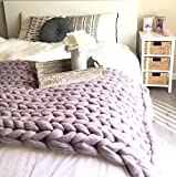 Chunky knit throw blanket Giant blanket knitted with arms Merino wool super bulky large thick yarn Valentines Day gift idea - Huge cozy blanket by Wonddecor