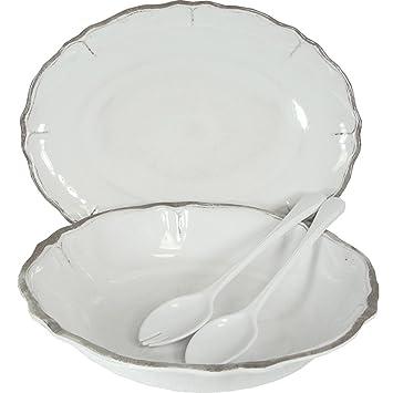 Le Cadeaux Rustica White Melamine Dinnerware 4 PC Serving  sc 1 st  Amazon.com & Amazon.com | Le Cadeaux Rustica White Melamine Dinnerware 4 PC ...