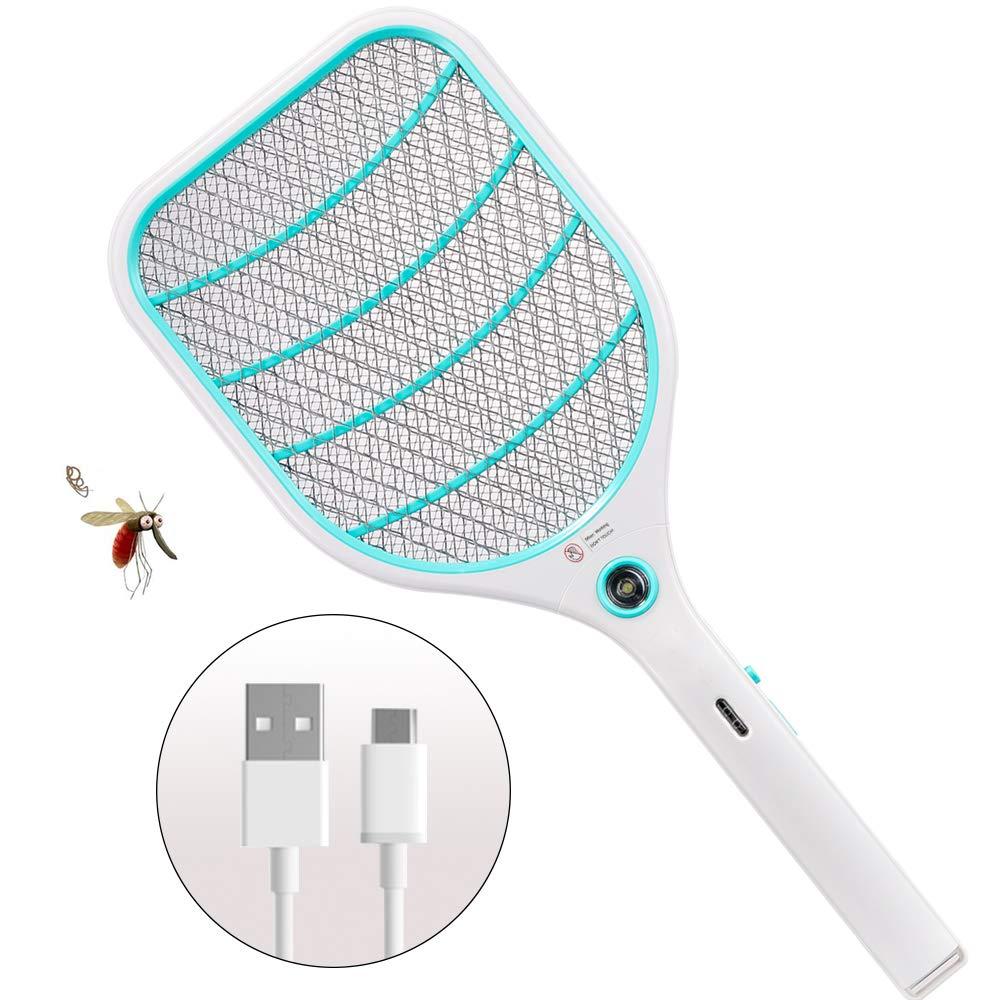 Blau ZOMAKE Elektrische Fliegenklatsche Fliegenf/änger Moskito Zapper USB Wiederaufladbar Doppelte Schichten Mesh Schutz 3000 Volt Insekten M/örder