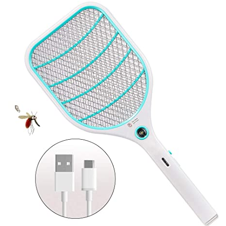 Bug Zapper Racket,Electric Fly Swatter,Fly Killer and Mosquito Swatter -  USB Rechargeable - 3000 Volt - Bright LED Light - Unique 3-Layer Safety  Mesh