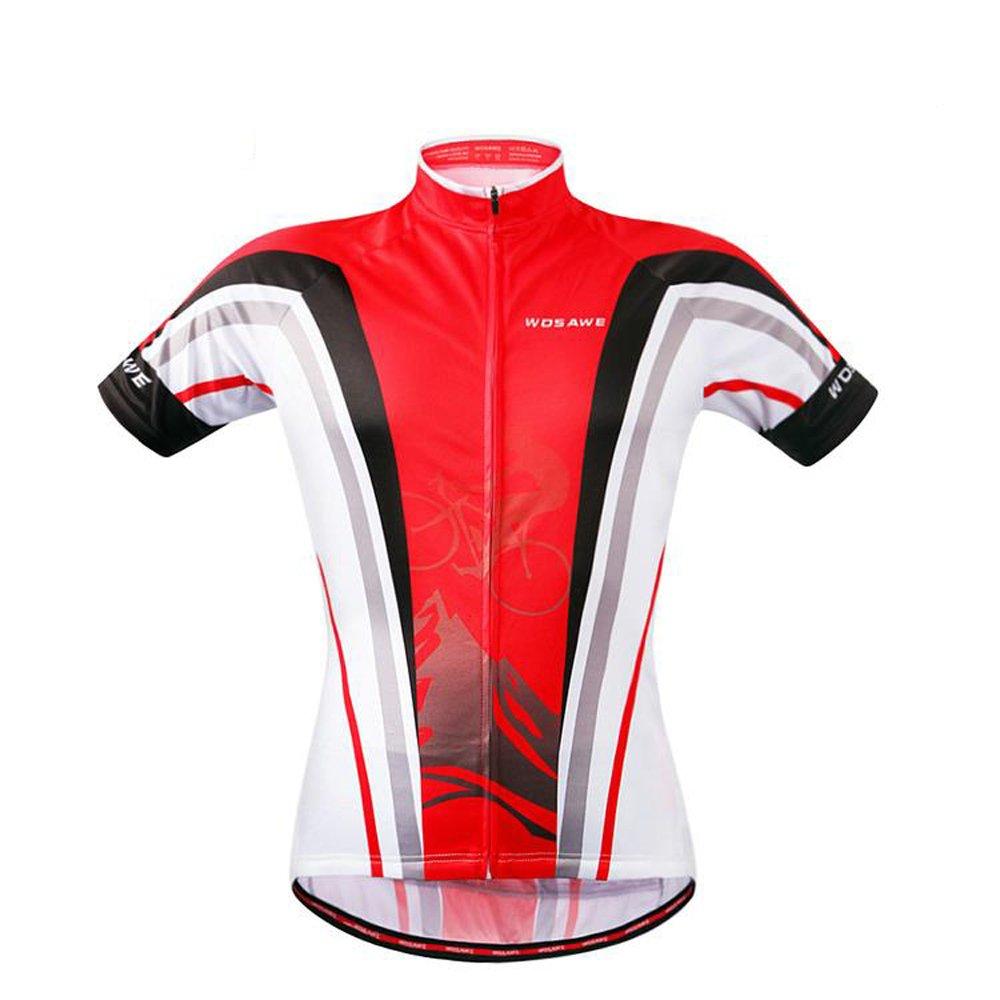 Ladies Bike Clothing Wosawe Red Cycling Jerseys Women's Biking Bicycle Shirts Suit Wosawe Cycling Jersey