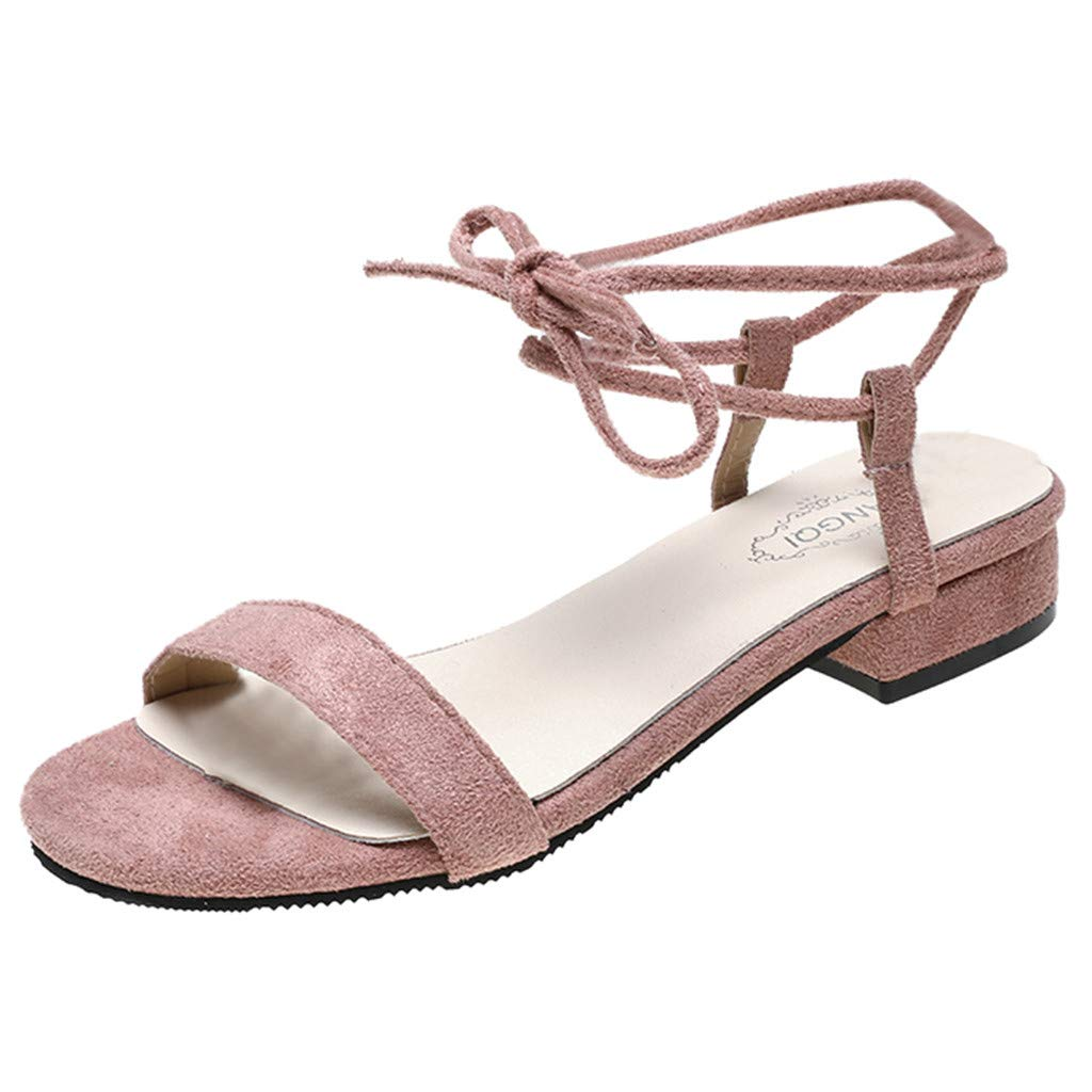 Fastbot Women's Summer Sandals Open Toe Casual Comfort Fashionable Rome Low Heels Ankle Strap Square Heels Shoes Pink