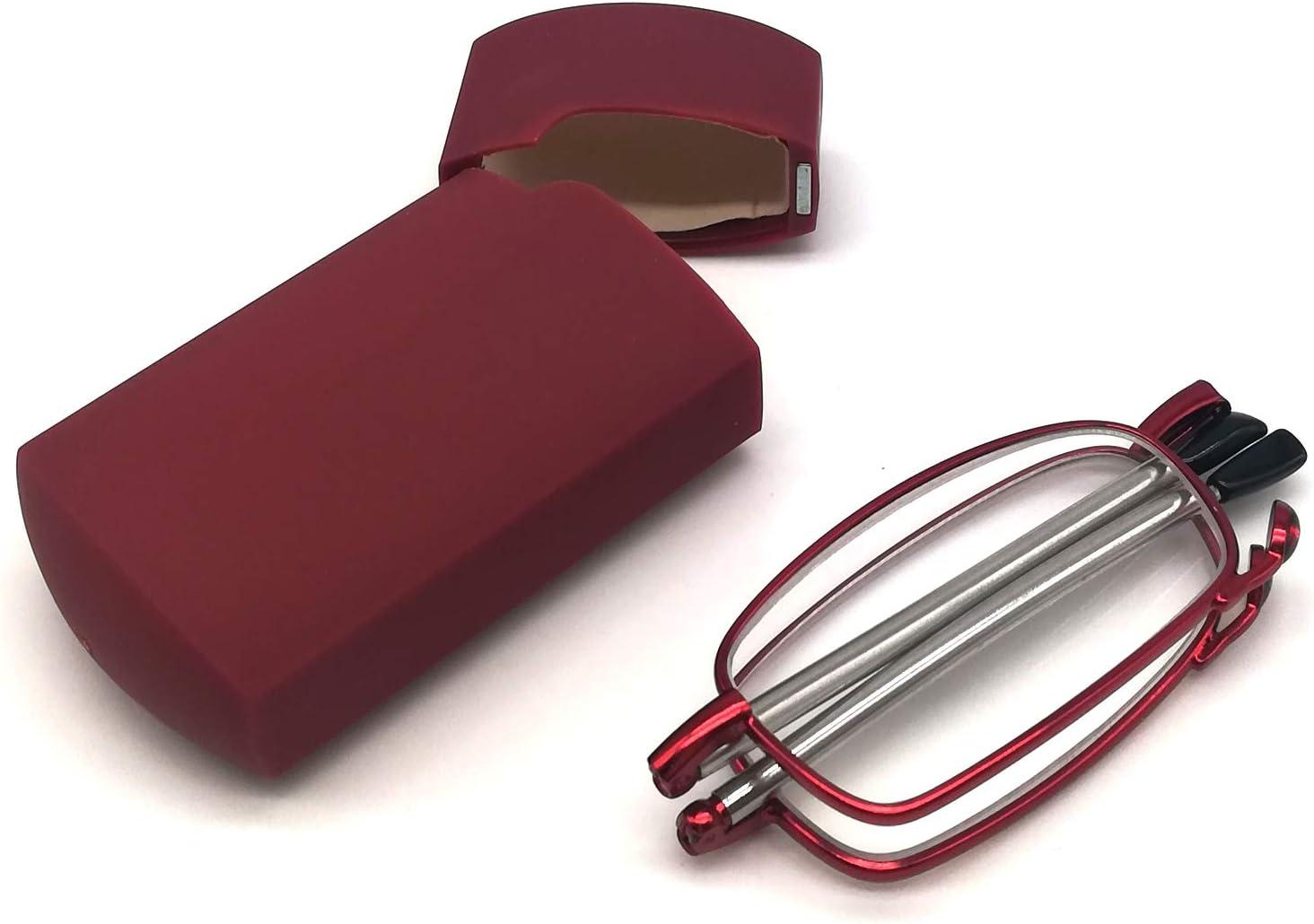 TourKing Gafas de Lectura Plegables de Metal Compactas con Patillas Telescópicas, Gafas de lectura plegables flexibles con estuche,Gafas Unisex Para De Lectura