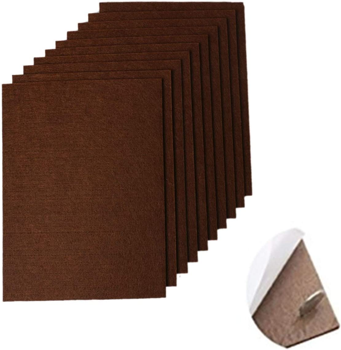 """RERIVER 10-Pack Self-Stick Felt Pads 6"""" X 8"""" X 1/5"""" Thick Heavy Duty Furniture Felt Sheets Wood Floor Protector(Brown)"""