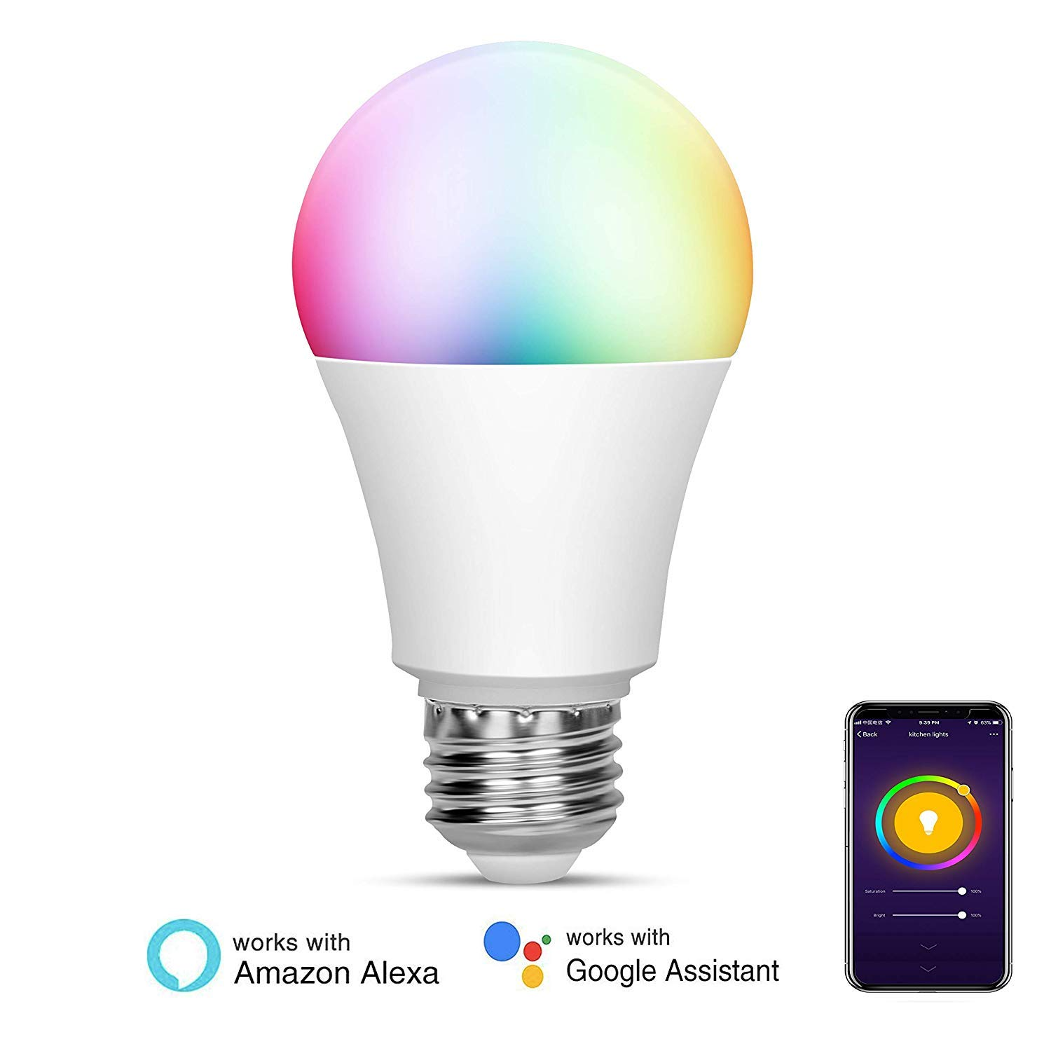 Echo Google Home and IFTTT Color Changing Bulb with App Control No Hub Required WiFi Smart LED Multi-Color Light Bulb Compatible with Alexa 4 Pack