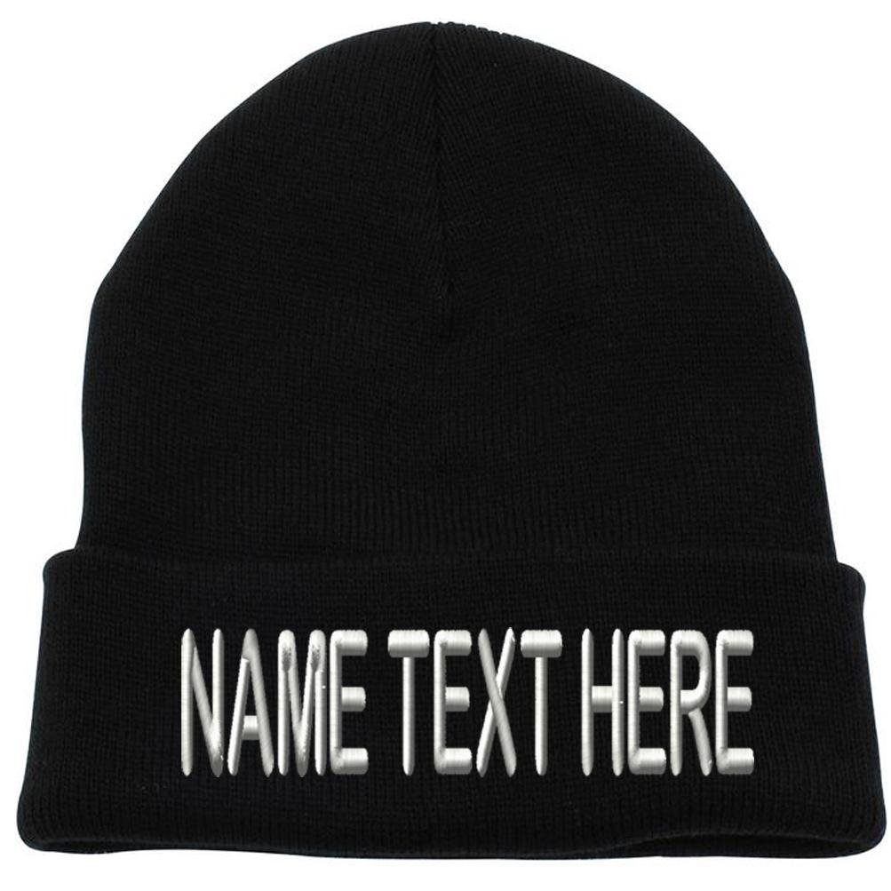 Caprobot ID Custom Embroidery Personalized Name Text Ski Toboggan Knit Cap Cuffed Beanie Hat - Black