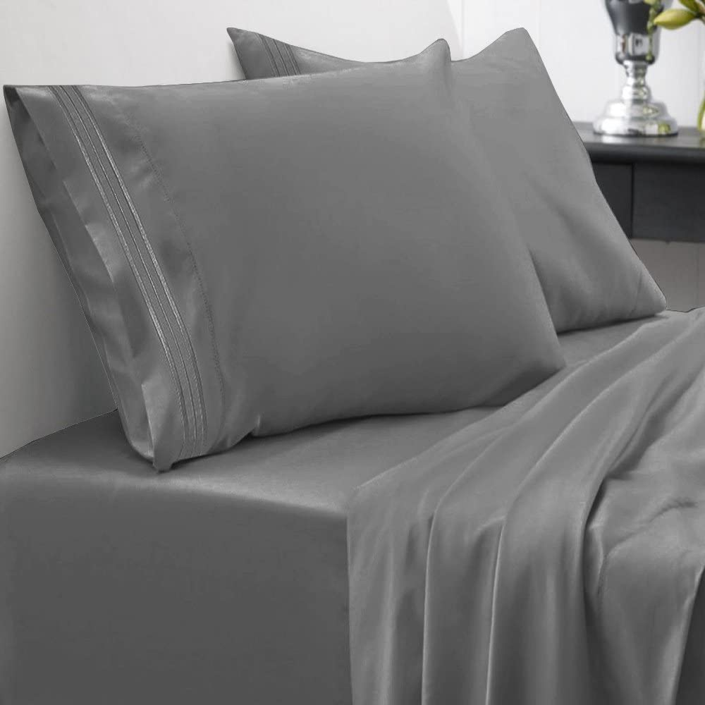 1500 Series Bed Sheet Set Brushed Microfiber 1500 Bedding - Wrinkle, Fade, Stain Resistant - Hypoallergenic 4 Piece Bed Sheet Set - California King, Gray