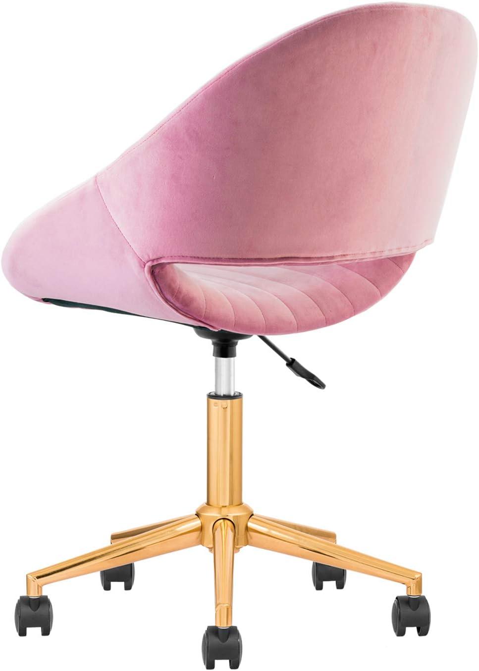 OVIOS Cute Desk Chair,Plush Velvet Office Chair for Home or Office,Modern,Comfortble,Nice Task Chair for Computer Desk. Golden-Malachite Green