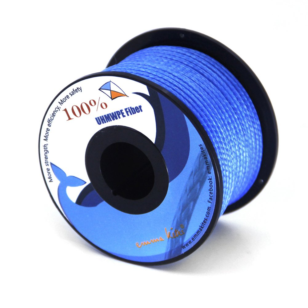 emma kites Blue UHMWPE Braided Cord High Strength Least Stretch Tent Tarp Rain Fly Guyline Hammock Ridgeline Suspension for Camping Hiking Backpacking Survival Recreational Marine Outdoors 100Ft 100Lb