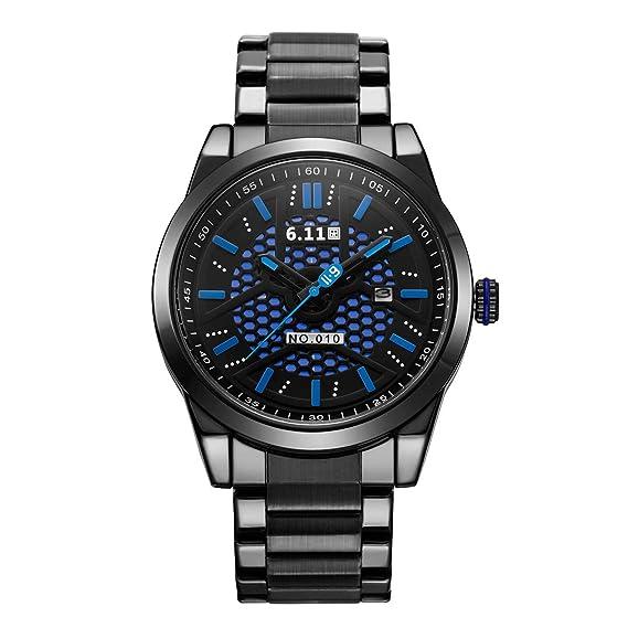 Reloj de Cuarzo de Acero Inoxidable para Hombre con energía Solar (Negro + Azul)