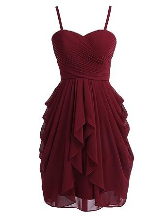 19230f809b37 Dressystar Robe Demoiselle d honneur Soirée Bal Courte Bustier Mousseline  Taille 34 Bordeaux -
