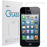 iphone 4s 強化ガラスフィルム【Qosea】iphone 4s/iphone 4 液晶保護フィルム 硬度9H 指紋防止 飛散防止 超薄0.3mm 2.5D ラウンドエッジ加工 (iphone 4s, 強化ガラスフィルム)