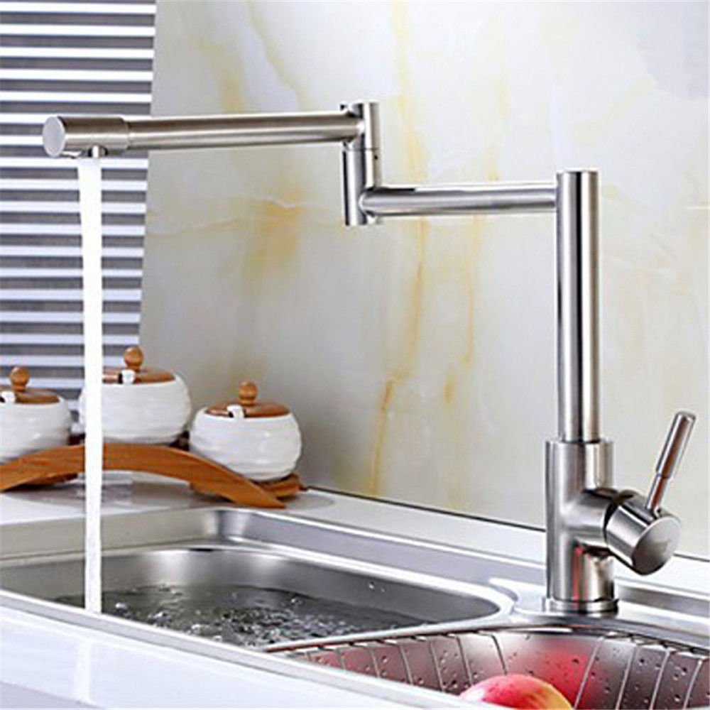 Lalaky Taps Faucet Kitchen Mixer Sink Waterfall Bathroom Mixer Basin Mixer Tap for Kitchen Bathroom and Washroom Stainless Steel Hot and Cold Water Folding Double Handle