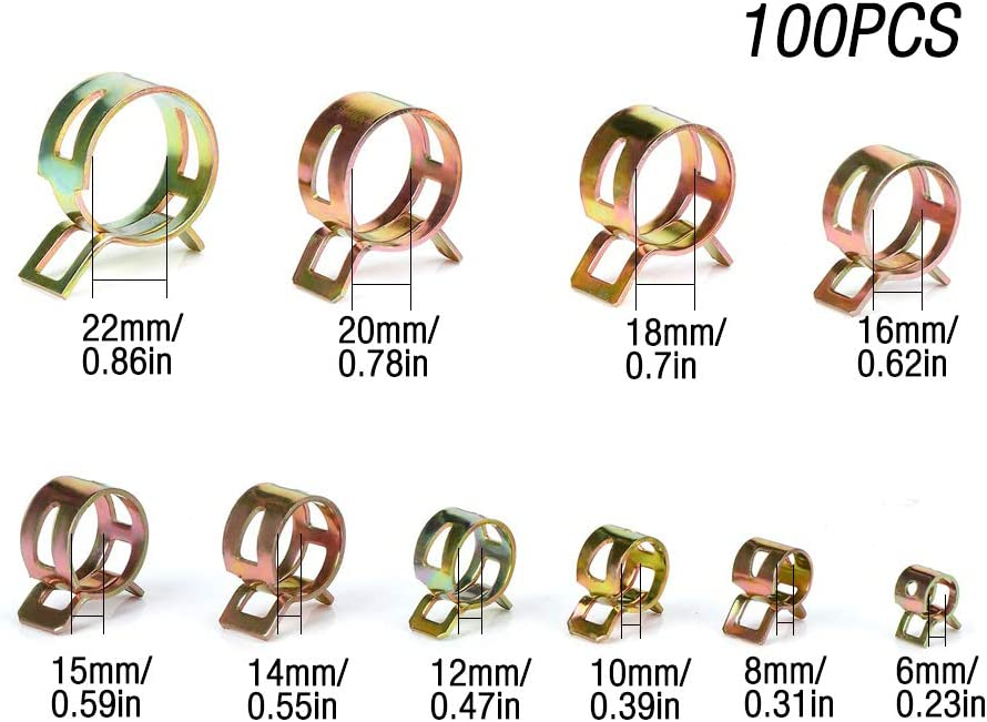 10 pcs 12 mm ressort Type ACTION Durite Carburant Tuyau Basse Pression Air Tube Pince Clip