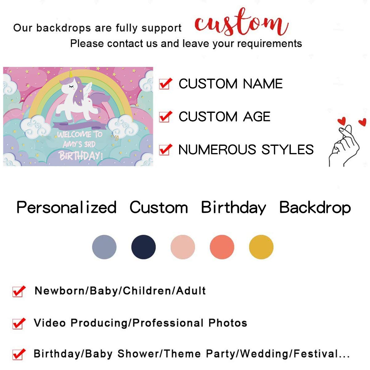 Backdrop Customized for Birthday Decor HoRmi Replacement for Party Decoration Supplies Num691