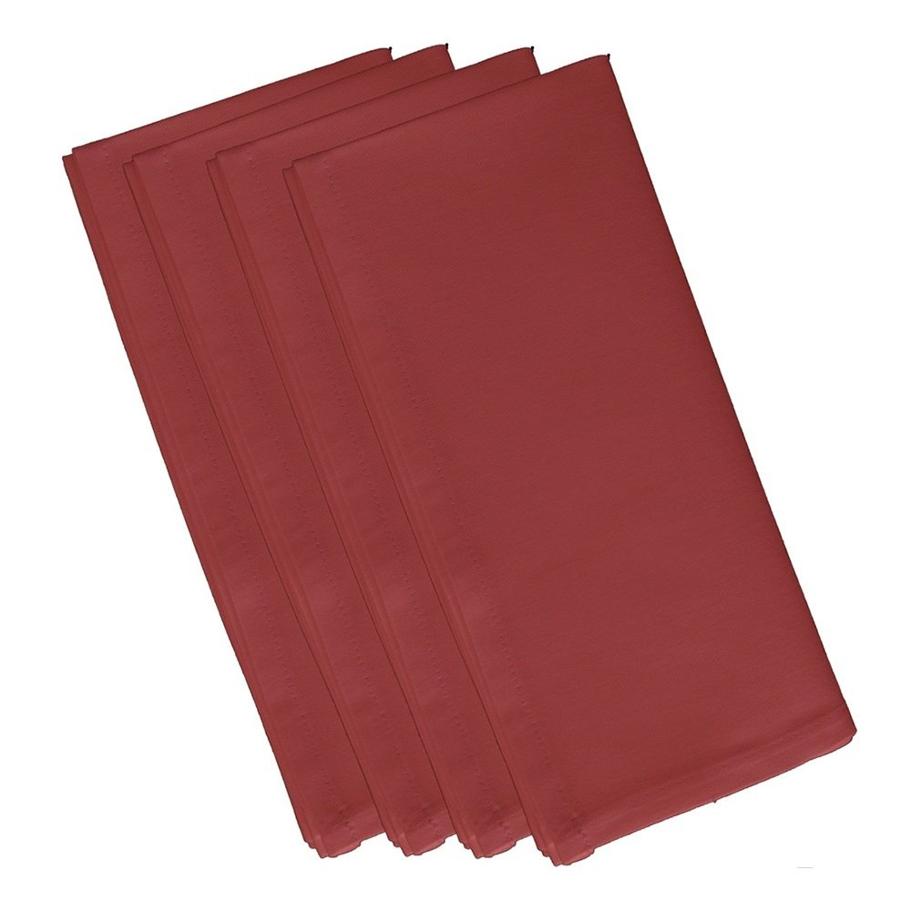 4 Piece Burnt Dinner Napkin, (Set Of 4), Solid Pattern, Classic And Contemporary Style, Square Shape, Good Qualitie, Everyday Or Special Occasions, Decorative, Cotton Material, Burgundy, Ruby